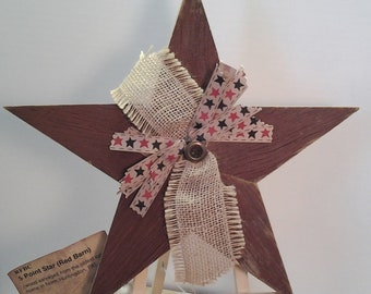 Five-Point Star, Red Barn Wood Star, Reclaimed Wood Star, Rustic Country Star, Embellished Wood Star, Decorated Wood Star, Rustic Farmhouse