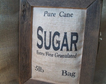 Rustic Stuffed, Burlap Sugar Sack, Reclaimed, Barn Wood Frame, Farmhouse or Country Kitchen