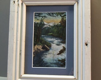 Vintage Postcard, 1946 Wallace Idaho, Matted and Framed, Distressed Reclaimed Wood Frame