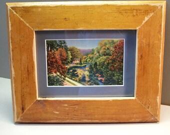 Fairmount Park, Philadelphia PA, Lincoln Drive, Wissahickon Creek, Vintage Postcard, Matted and Framed, Distressed, Reclaimed Wood Frame