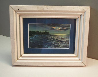 Curt Teich, Vintage Antique Postcard, Moonlight Scenes, Matted and Framed, Distressed Reclaimed Wood, Frame