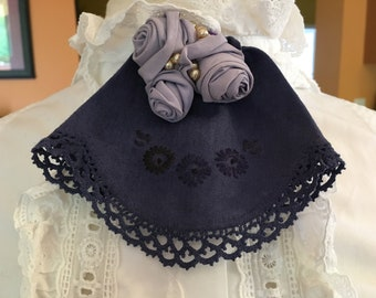 Fabric Corsage, Brooch or Jabot - Up-cycled Dark Navy Blue Embroidered Linen - Lace Trimmed - Handmade Fabric Roses - Vintage Faux Pearls