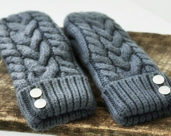 Grey Cable knit Mittens handknit Mittens Hand Knit Cable Knit Mittens Outdoor Mittens Fully lined gift for her. Fall Sale event!