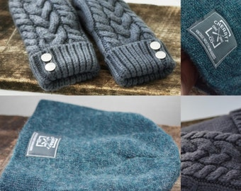 Ladies Handknit Hat and Mittens Set - Classic Cable Knit Mittens + Angora Knit Beanie in Grey + Blue
