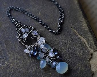 Gemstone Tassel Pendant  Silver Statement Necklace  Wire Wrapped Cascade Pendant  Victorian Gemstone Necklace Summer Nights