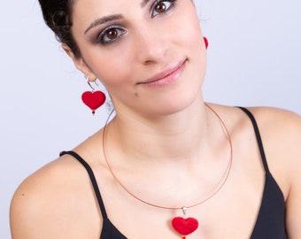 Valentine, Heart shape, Birthday Gift, Jewelry gift, Heart earrings, Heart pendant, Heart shape jewelry, Jewelry set, Red heart, Wool jewelr