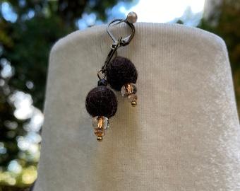 Felted Earrings, Wool earrings, dangle drop, Earth theme earrings, eco friendly jewelry, beads earrings brown color brown necklace pendant