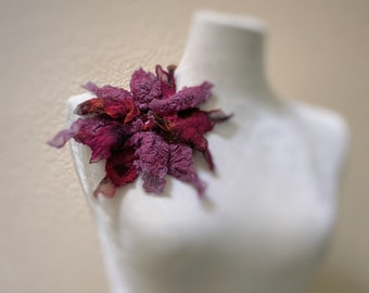 Felted brooch Purple Burgundy red brooch Boho style Merino wool Silk glass beads Unique Fanciful brooch Art pin accessory textile jewelry