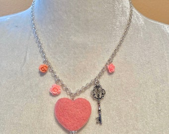 Valentine, Birthday present, Heart Necklace, Wool heart pendant, Rose charm, Key to the heart, silver plated chain, gift, felted jewelry