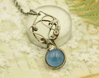 Blue glass ball necklace, magical amulet, gift for her, hippie necklace, gypsy jewelry, bohemian necklace, bridesmade gift, blue necklace