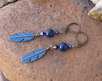 Feather earrings & Lapis