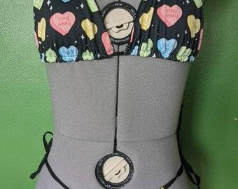 reversible swimwear adjustable side tie bikini - funny candy heart print
