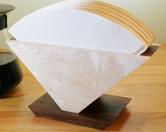 Filter Holder for Hario, V60 - Handmade - Solid Hardwood - Maple Fronts, Walnut Inserts and Walnut Base