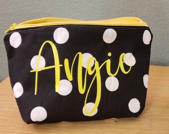 d96638c911 Yellow Polka Dot Makeup Bag, Polka Dot Makeup Bag, Bridesmaid Gift, Yellow Makeup  Bag, Yellow Bag, Personalized Bag, Cosmetic Bag