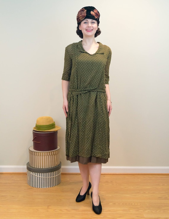 Lined Green Dotted Dress Vintage Slip Polka with Cotton Dress Army Cotton 1920s Overdress Sheer qfU7Atq
