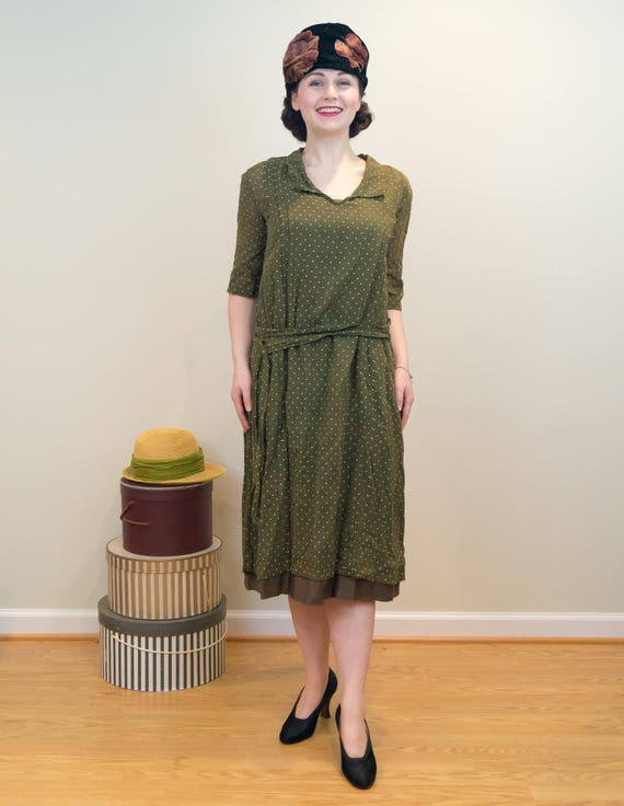 Dress with Dotted Overdress Cotton Lined Cotton 1920s Vintage Dress Army Polka Green Slip Sheer aqxv5A