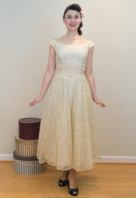 1950s Dress Vintage Dainty Pale Domb Dress Prom Yellow Lace Emma Sunshine Yellow rwwI7q
