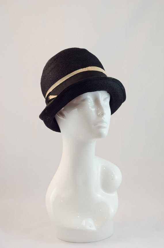 60c9b0ae9f1 1920s Vintage Hat Fine Black Straw Hat with Two Toned