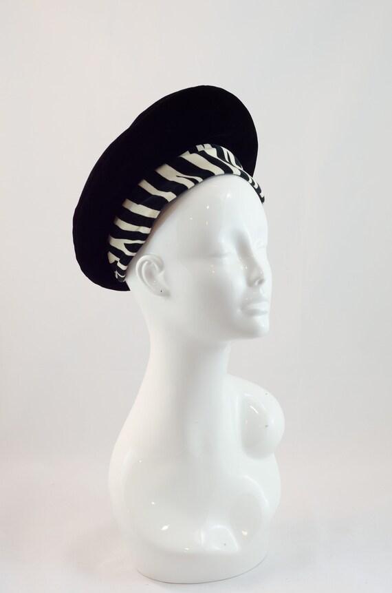 1960s Vintage Hat - Black Beret with Zebra Striped