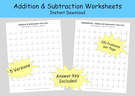 Addition Subtraction Worksheets First And Second Grade Math Etsy
