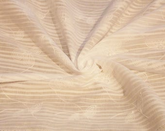 White Cotton Stripe with floral embroidery Fabric // Cotton stripe Voile fabric by the yard