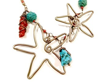 Double Starfish Necklace with Magnesite, Coral and Turquoise Beads Adjustable Length #1215