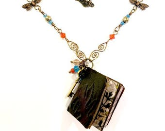"""Fly Bird Mini-Book Necklace with Pablo Neruda Quote Adjustable Length #1021 """"From the Birds I Learned..."""""""