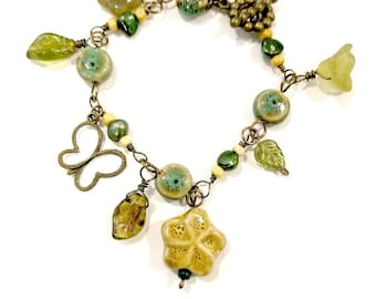 Forest Bracelet in Green and Amber with Ceramic and Glass Beads Adjustable Length #1232