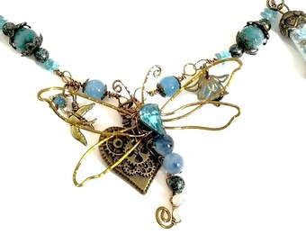 Fairytale Forest Dragonfly Necklace in Teal Renaissance Adjustable Length Fantasy Woodland #1346