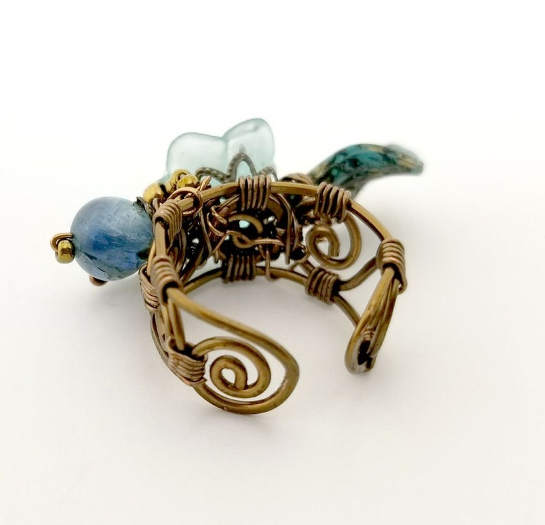 Fairytale Forest Fantasy Floral Ring in TealAquaSky Blue Renaissance Adjustable Wire #1349