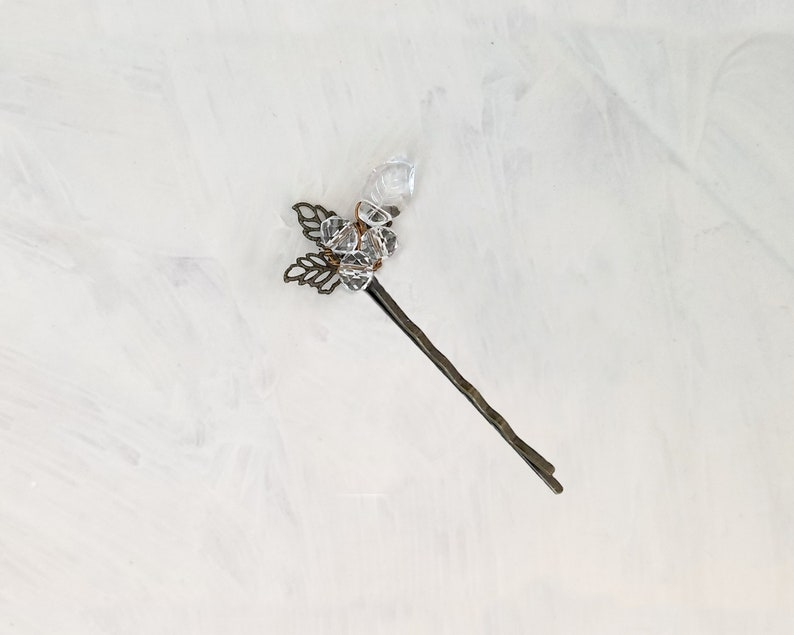 Party Metals Wedding Bohemian Wire Wrapped Beaded Bobby Pin  Hair Pin in Clear Choice of Colors Garden Boho Bridesmaid Floral
