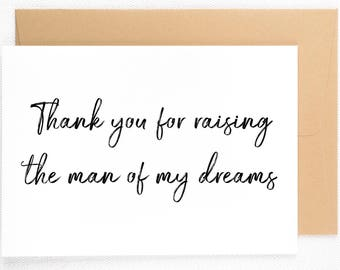 Mother of The Groom Card, Mother in Law Card, Wedding Day Cards, Thank You Card