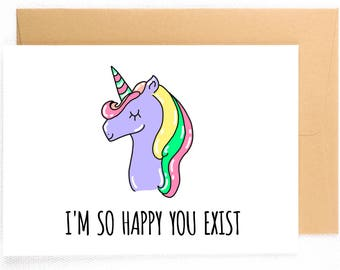 Funny Birthday Card Unicorn Gift