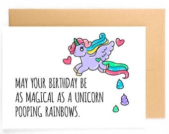 Funny Birthday Card Unicorn Gift Poop Emoji
