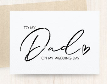 Card from Bride and Groom Dad Wedding Day Gift from Bride To my Dad on my Wedding Day Letterpress Wedding Card to Dad