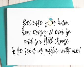 Funny Bridesmaid Proposal Card, Funny Asking Card, Bridesmaid Card, Be My MOH, Be My Maid of Honor, Bridesmaid Proposals