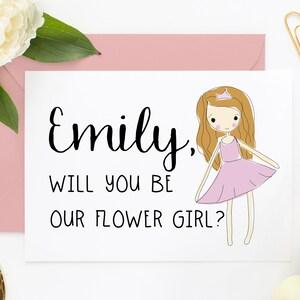 Cute Flower Girl Proposal Card Cute Bridesmaid Card Flower Girl Cards Junior Bridesmaid Proposal EWYBO201