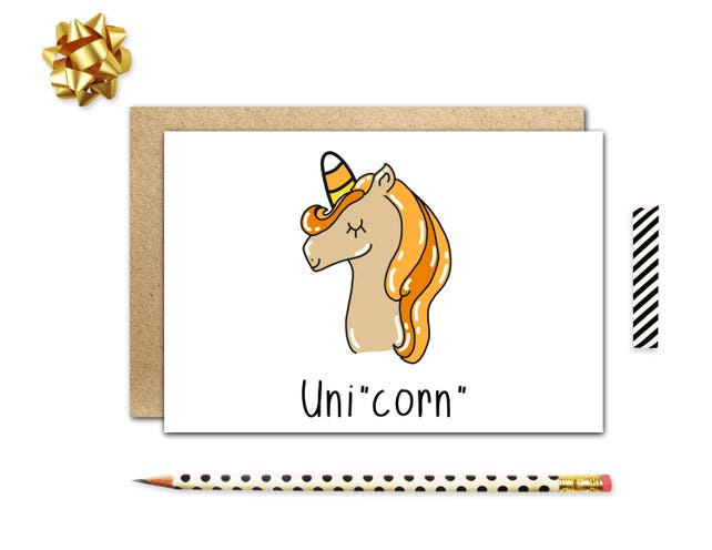 Funny Halloween Card, Funny Holiday Cards, Cute Halloween Card, Candy Corn, Unicorn Cards