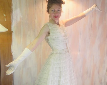 1950s Wedding Dress Prom Gown Ball Gown Ballerina Tulle Dress US Small