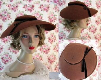 Vintage Broad Brimmed Hat Vintage 1940s Hat 196033c9610