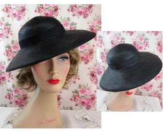 f562b1d6a8b 1940s Hat Vintage Cartwheel Hat Broadbrimmed Hat 1940s Black Straw Wide Brim
