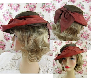 0c05a68be07 1940s Hat Vintage 1940s Straw and Silk Hat
