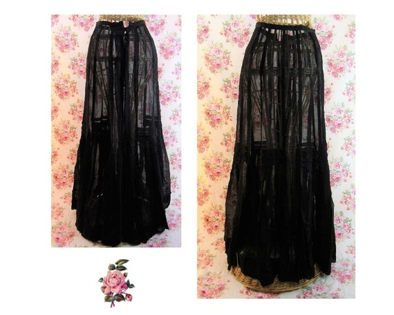 Antique Edwardian Walking Skirt Black Wool Mesh 20