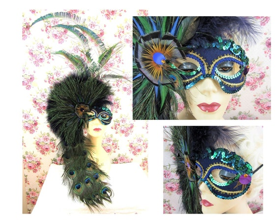 Peacock Masquerade Ball Mask Dramatic Peacock Feat