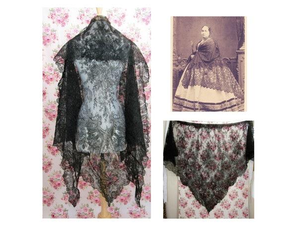 Antique Black Lace Shawl Antique Victorian Lace Sh