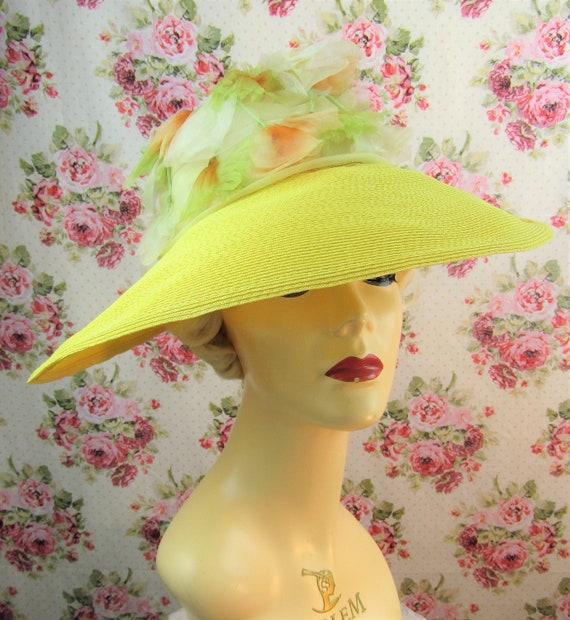 Vintage 1940w 40s Resort Hat 40s  Wide Brimmed St… - image 2