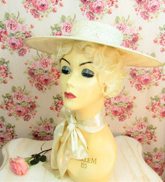 Vintage 1930s Wide Brim Straw Hat Most Vintage 19… - image 2