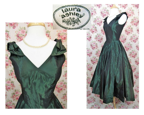 Vintage Laura Ashley Dress Size XS Vintage Green L