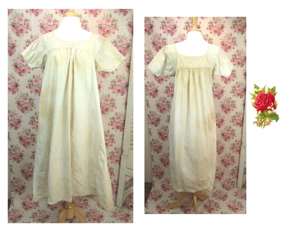Antique Mid 1800's Nightgown Size Medium Antique H