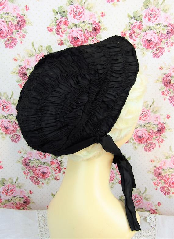 Antique Mourning Bonnet Antique Civil War Era Bon… - image 4